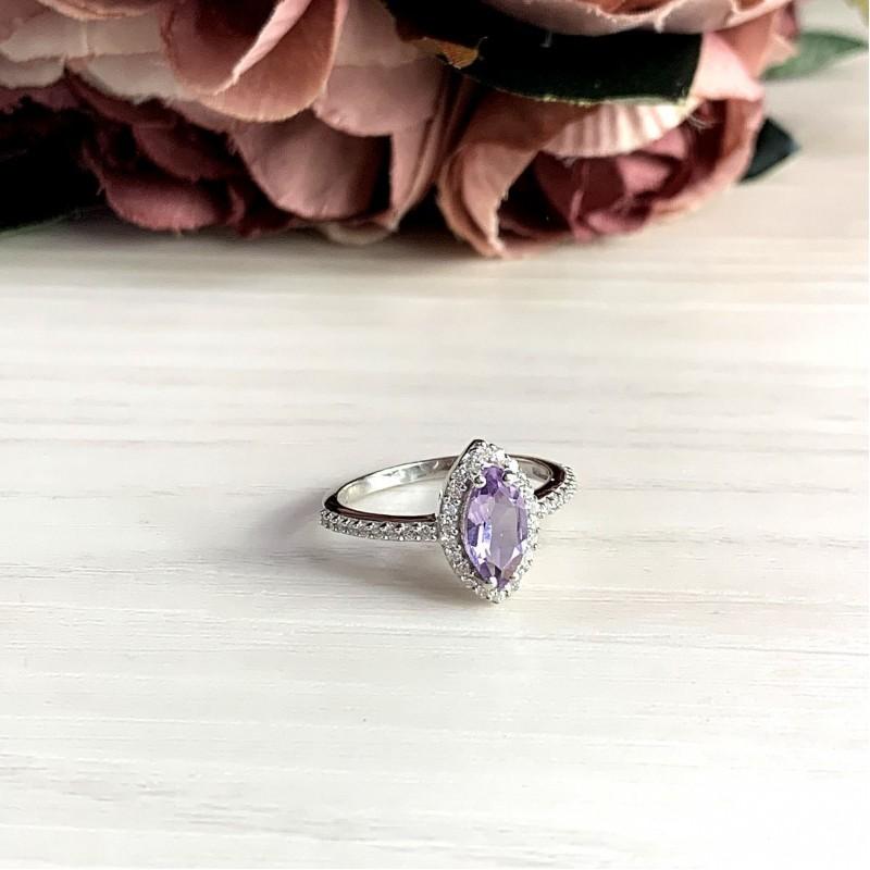 Серебряное кольцо SilverBreeze с натуральным аметистом (1969984) 17.5 размер