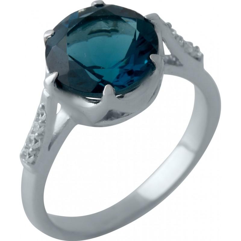 Серебряное кольцо SilverBreeze с натуральным топазом Лондон Блю (2012412) 17.5 размер