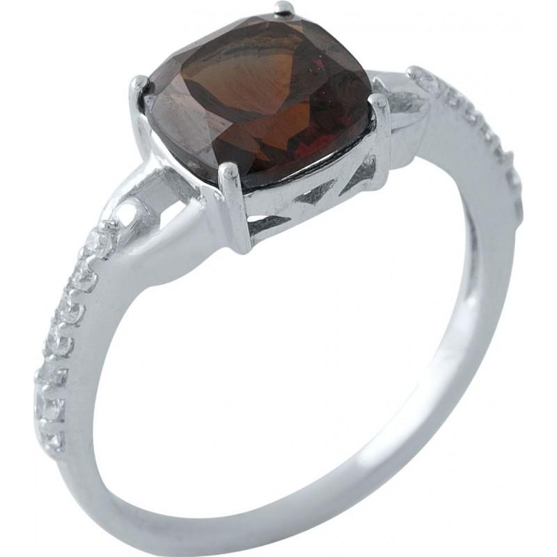 Серебряное кольцо SilverBreeze с натуральным гранатом (1970461) 17 размер