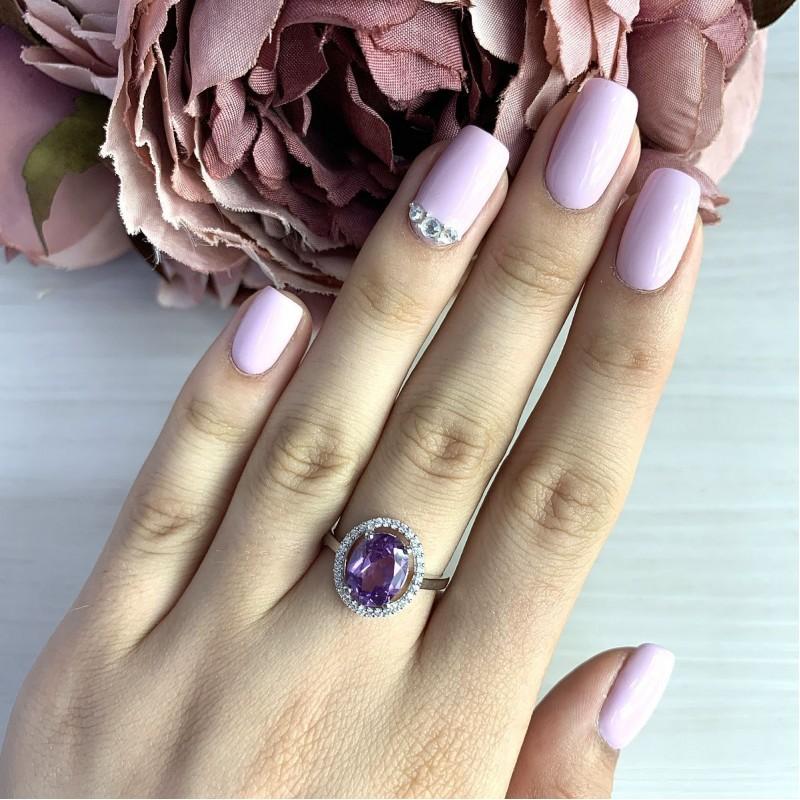 Серебряное кольцо SilverBreeze с олександритом (2017516) 17 размер