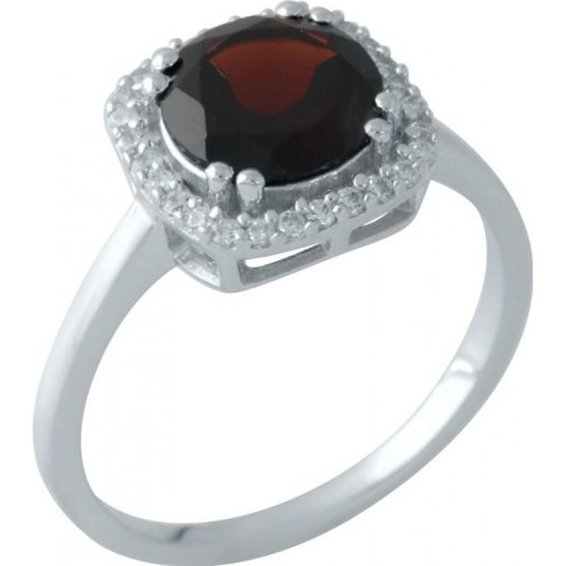 Серебряное кольцо SilverBreeze с натуральным гранатом (1951620) 16.5 размер