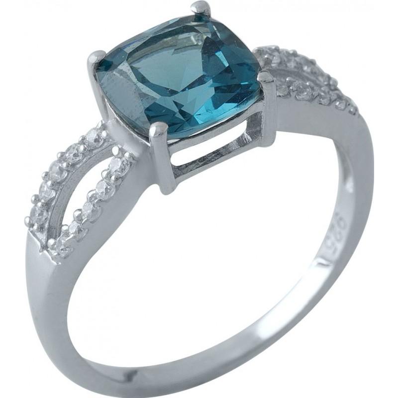 Серебряное кольцо SilverBreeze с натуральным топазом Лондон Блю (1970553) 17 размер