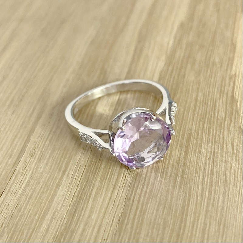 Серебряное кольцо SilverBreeze с натуральным аметистом (1996331) 18 размер