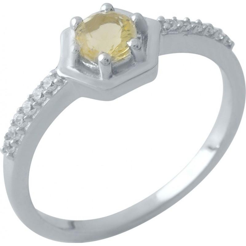 Серебряное кольцо SilverBreeze с цитрином nano (1970683) 18 размер