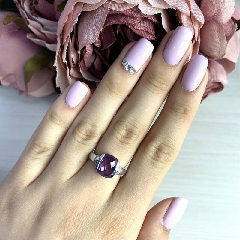 Серебряное кольцо SilverBreeze с олександритом (2017622) 18.5 размер