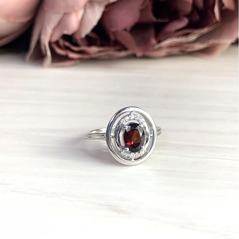 Серебряное кольцо SilverBreeze с натуральным гранатом (2019312) 17.5 размер