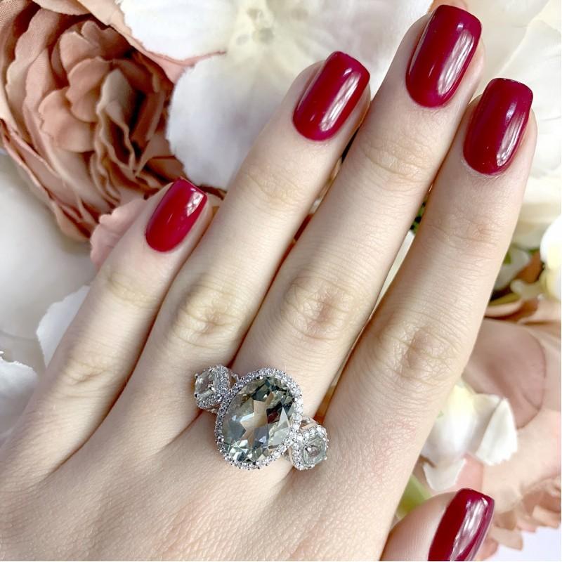 Серебряное кольцо SilverBreeze с натуральным зеленим аметистом (1971598) 18.5 размер