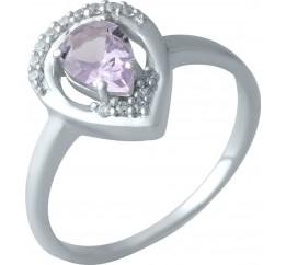 Серебряное кольцо SilverBreeze с натуральным аметистом (1998977) 18.5 размер