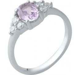Серебряное кольцо SilverBreeze с натуральным аметистом (2019367) 18 размер