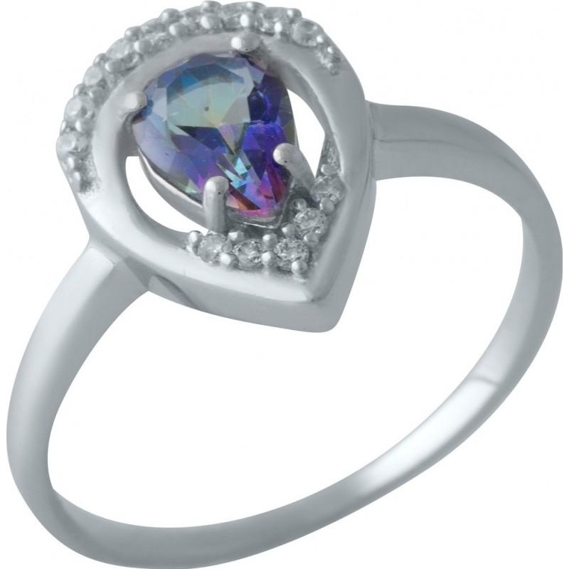 Серебряное кольцо SilverBreeze с натуральным мистик топазом (2004226) 18 размер
