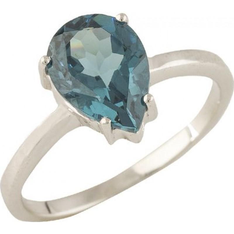 Серебряное кольцо SilverBreeze с натуральным топазом Лондон Блю (1320211) 18 размер