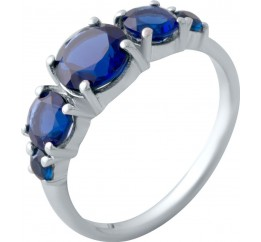 Серебряное кольцо SilverBreeze с сапфиром nano (2021698) 18 размер
