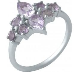 Серебряное кольцо SilverBreeze с натуральным аметистом (1998984) 17.5 размер