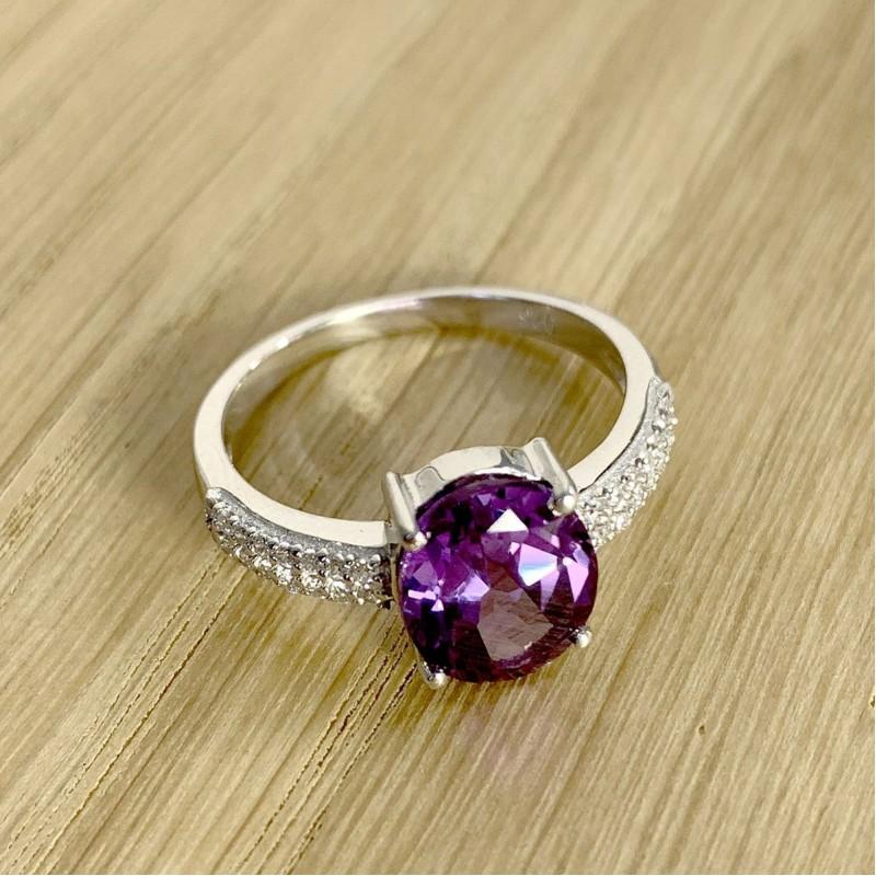 Серебряное кольцо SilverBreeze с олександритом (1912126) 18 размер