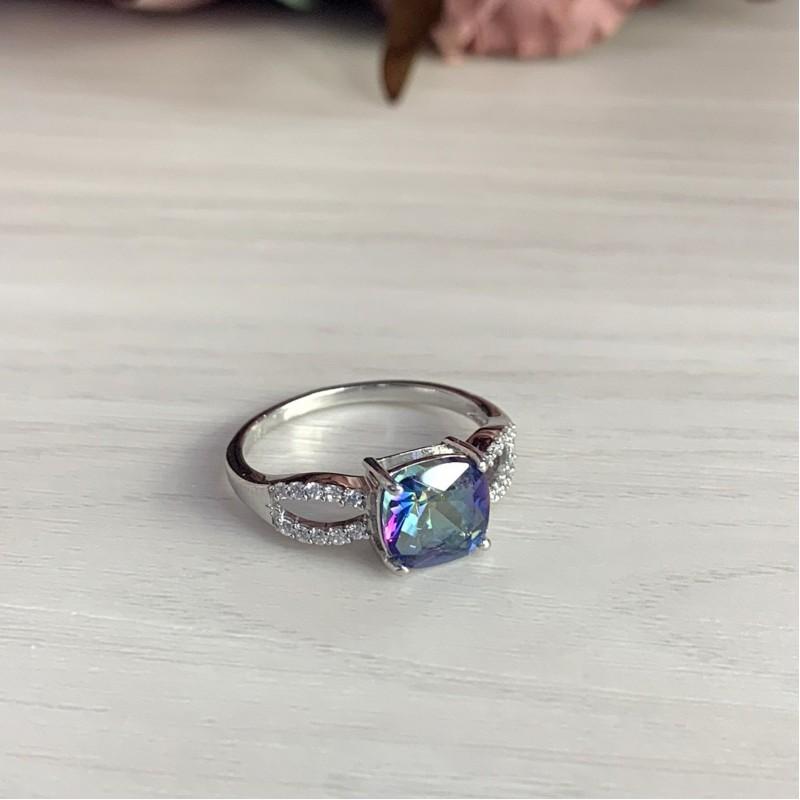 Серебряное кольцо SilverBreeze с натуральным мистик топазом (1972359) 18.5 размер