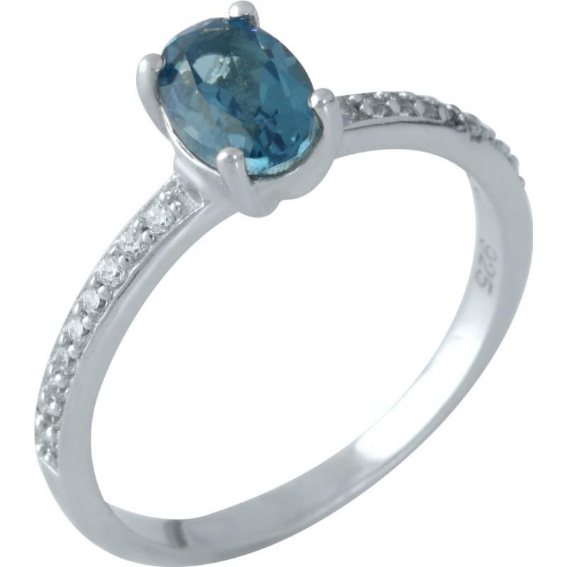 Серебряное кольцо SilverBreeze с натуральным топазом Лондон Блю (1957257) 18 размер