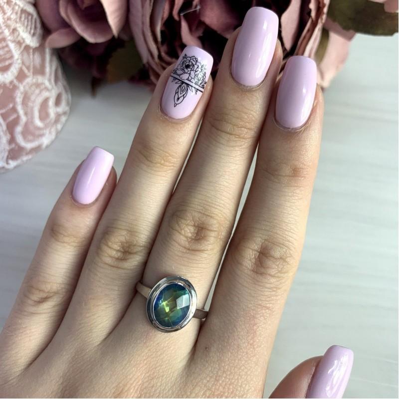 Серебряное кольцо SilverBreeze с натуральным мистик топазом (2004295) 17.5 размер