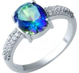 Серебряное кольцо SilverBreeze с натуральным мистик топазом (1913178) 18 размер