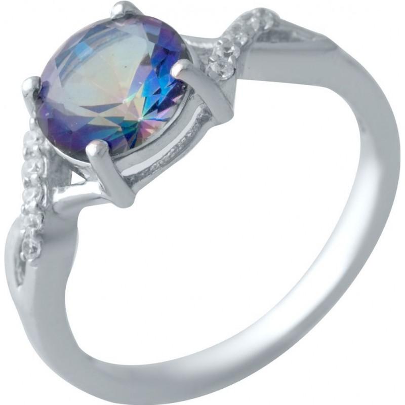Серебряное кольцо SilverBreeze с натуральным мистик топазом (1998014) 17.5 размер