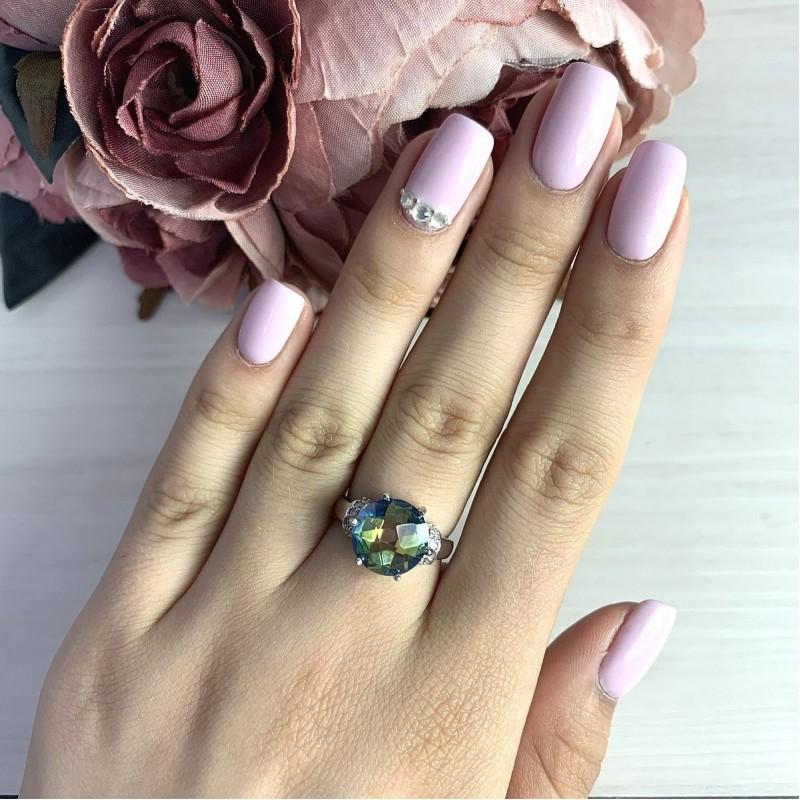 Серебряное кольцо SilverBreeze с натуральным мистик топазом (1457054) 18 размер
