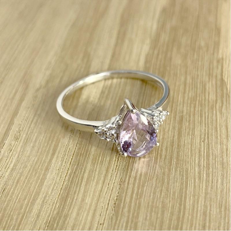 Серебряное кольцо SilverBreeze с натуральным аметистом (1996263) 18 размер