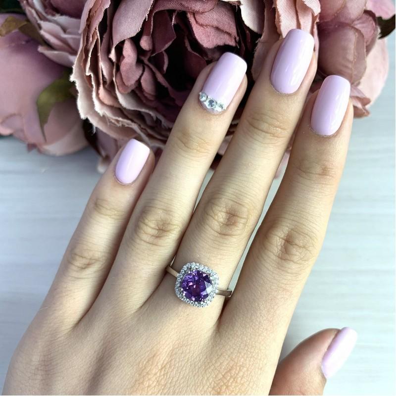 Серебряное кольцо SilverBreeze с олександритом (2017882) 17.5 размер