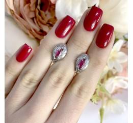 Серебряные серьги SilverLine с натуральным рубином (1911785)