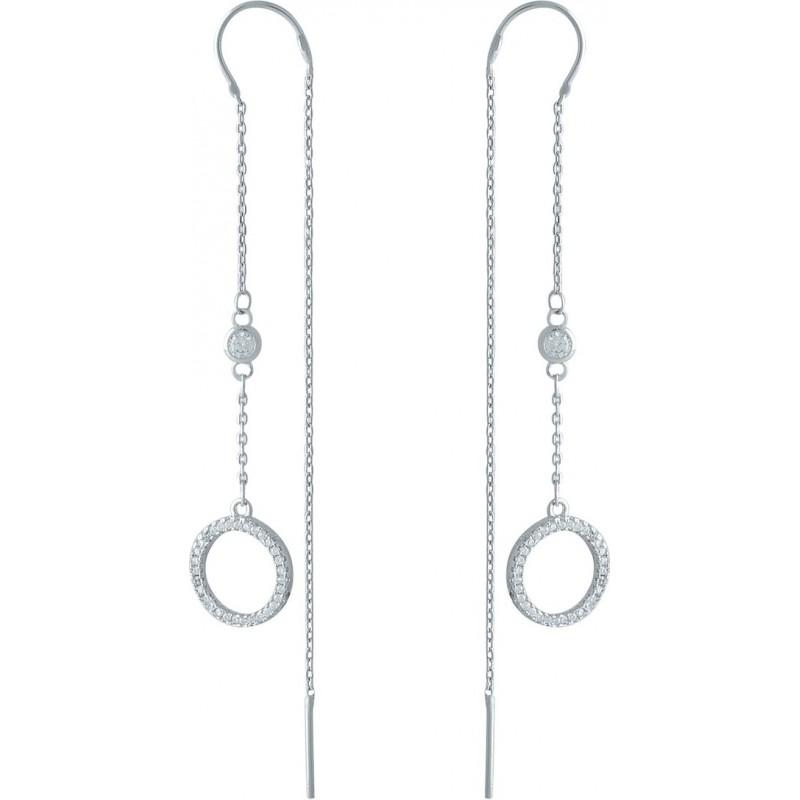 Серебряные серьги SilverBreeze с фианитами (2001317)