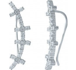 Серебряные серьги SilverBreeze с фианитами (1985212)