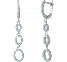 Серебряные серьги SilverBreeze с фианитами (1983423)