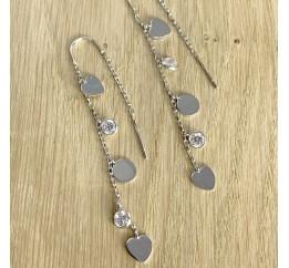 Серебряные серьги SilverBreeze с фианитами (1983058)