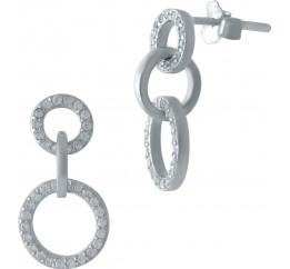 Серебряные серьги SilverBreeze с фианитами (1979310)