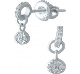 Серебряные серьги SilverBreeze с фианитами (1976920)