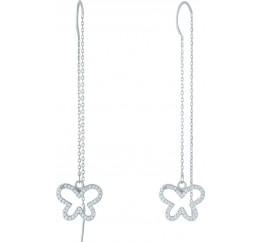 Серебряные серьги SilverBreeze с фианитами (1956533)