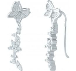 Серебряные серьги SilverBreeze с фианитами (1955949)