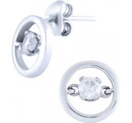 Серебряные серьги SilverBreeze с фианитами (0681023)