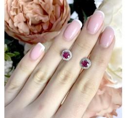 Серебряные серьги SilverBreeze с натуральным рубином (1966747)