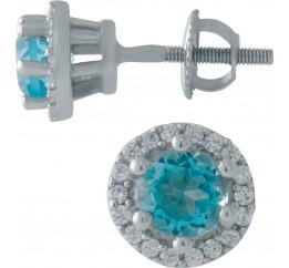 Серебряные серьги SilverBreeze с аквамарином nano (1998762)