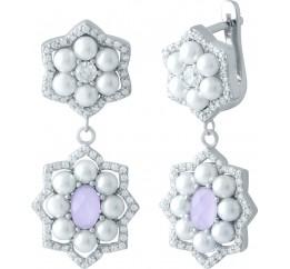 Серебряные серьги SilverBreeze с розовым кварцем,  (1980439)