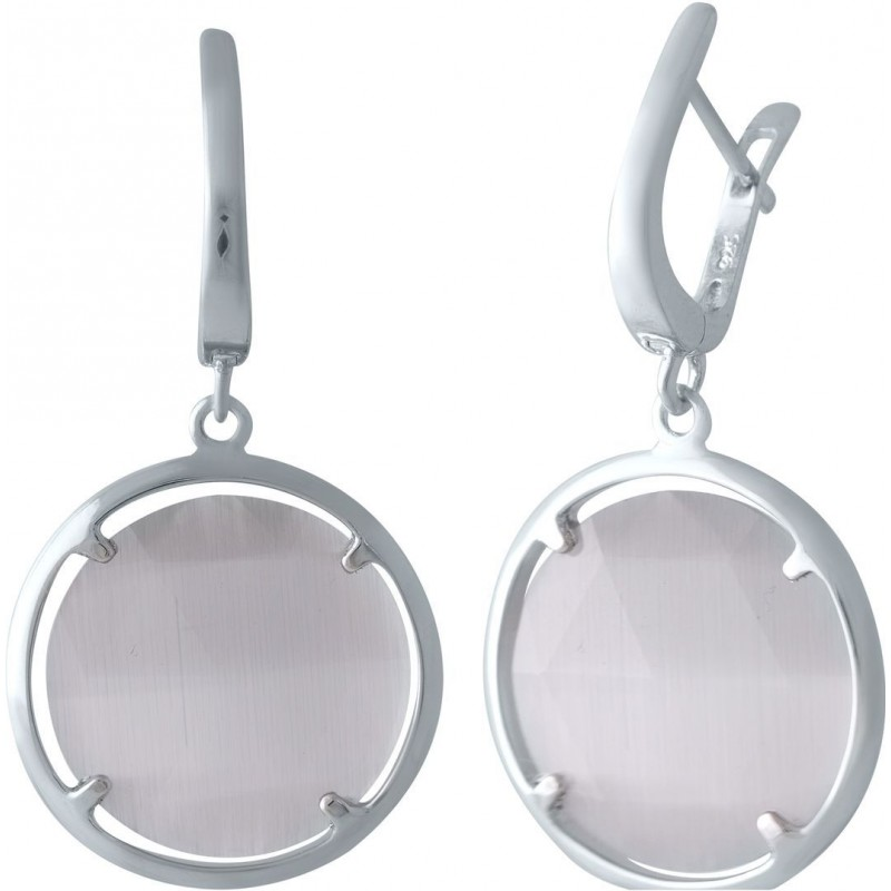 Серебряные серьги SilverBreeze с кошачим глазом (2015284)