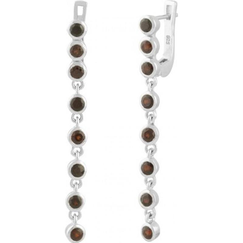 Серебряные серьги SilverBreeze с натуральным гранатом (0863887)