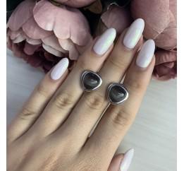 Серебряные серьги SilverBreeze с кошачим глазом (1974117)