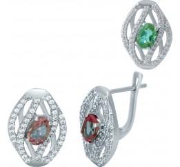 Серебряные серьги SilverBreeze с Султанит султанитом (1950593)