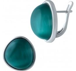Серебряные серьги SilverBreeze с кошачим глазом (1928073)