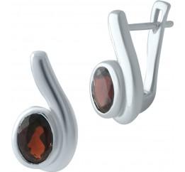 Серебряные серьги SilverBreeze с натуральным гранатом (2002918)