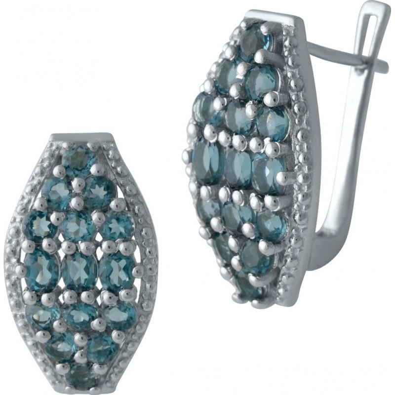 Серебряные серьги SilverBreeze с натуральным топазом Лондон Блю (2010753)
