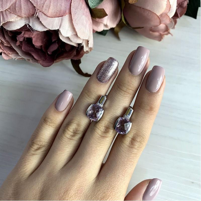 Серебряные серьги SilverBreeze с натуральным аметистом (2020769)