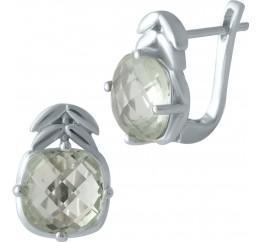 Серебряные серьги SilverBreeze с натуральным зеленим аметистом (1995426)