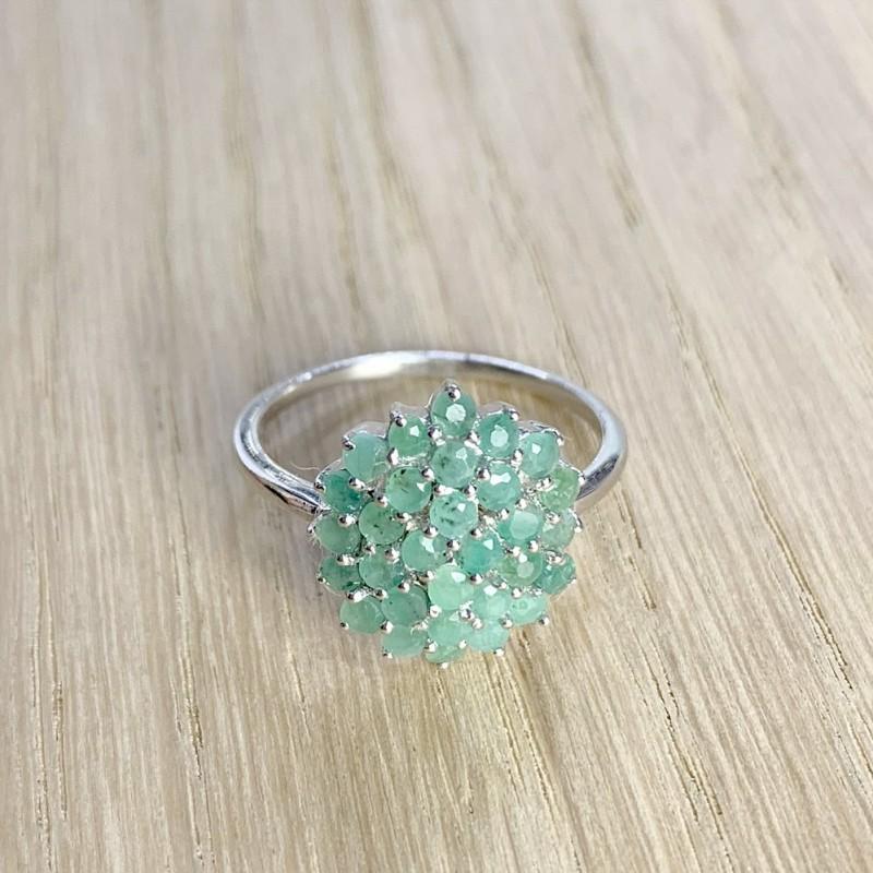 Серебряные серьги SilverBreeze с натуральным изумрудом (1234839)