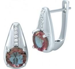 Серебряные серьги SilverBreeze с Султанит султанитом (1952023)